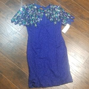 NWT Vintage silk sequin dress purple silver large